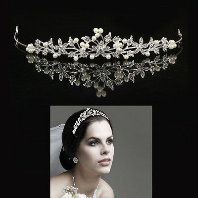 Silver Wedding Tiara Bridal Crown Princess Crystal Rhinestone Prom Hair Headband