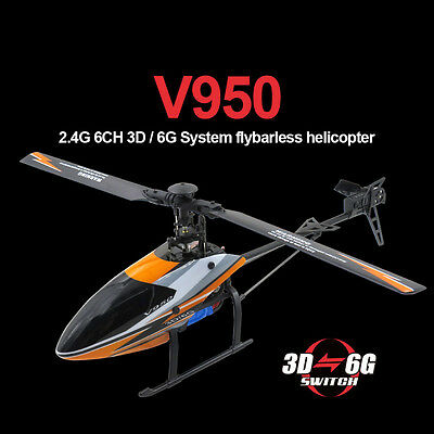 WLtoys V950 2.4G 6CH 6-axis 3D System Flybarless RC Helicopter Quadcopter RTF