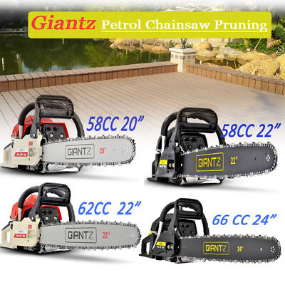 "58/62/66/82 CC Petrol Commercial Chainsaw 22""/24"" Bar E-Start Chain Saw  Pruning"