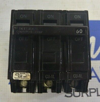 GE THQB32060 GENERAL ELECTRIC BOLT-ON CIRCUIT BREAKER 60 AMP 3 POLE 120//240 VOLT