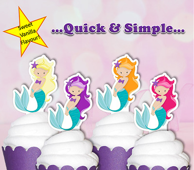 mermaid edible wafer cake cupcake toppers birthday 1st 5th 10th baby shower tail