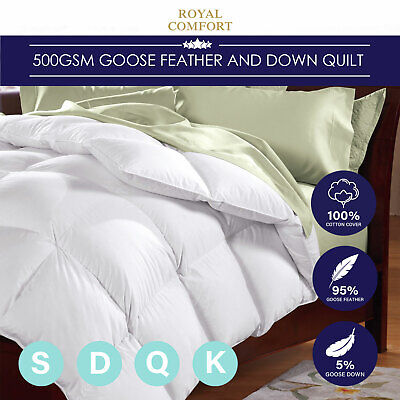 500GSM Feather Quilt Goose Down Blanket Doona Cotton Single Double Queen King