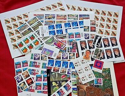 New 100 Assorted Mixed Designs Partial Panes & Pieces of 34 ¢ US Postage stamps.