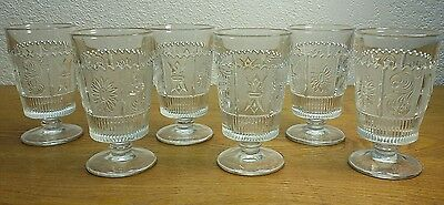 """6 EAPG Westmoreland Sandwich Glass Princess Feather 6"""" Water Goblets"""