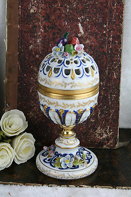 Gorgeous French 1950 Egg box in sevres porcelain marked encrusted lfloral