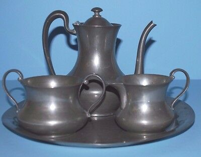 Vintage 4 Piece Queen City Silver Co. Pewter Coffee or Tea Set