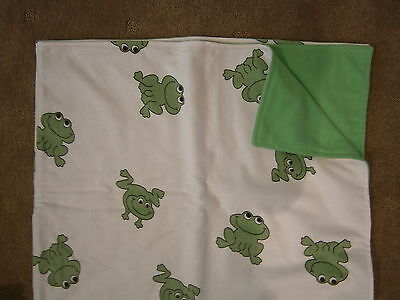 New - Large Bright Flannelette Wrap - white with green frogs and lime