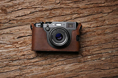 Genuine Real Leather Half Camera Case Bag Cover for FUJIFILM X100F Brown Color