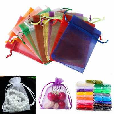 100pcs Organza Wedding Gift Bags Jewelry Candy Favors Bags Mesh Gift Pouches