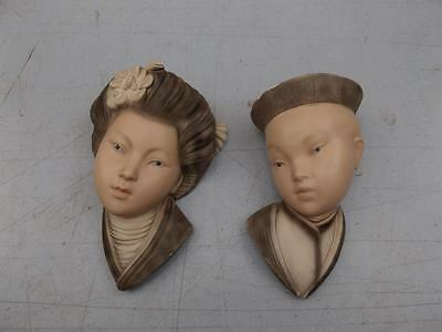 Pair Of Wall Hanging Head Bust Chalk Asian Oriental Vintage Chalkware