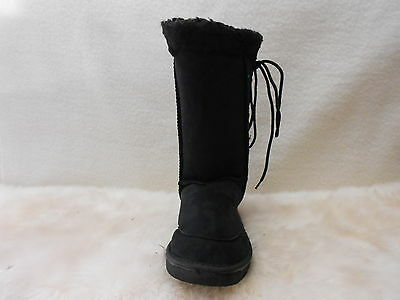 Ugg Boots Tall, Synthetic Wool, Lace Up,Youth Size 4 Colour Black