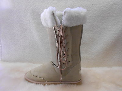 Ugg Boots Tall, Synthetic Wool, Lace Up, Youth Size 4 Colour Beige