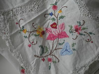 hand embroidered and crochet tablecloth
