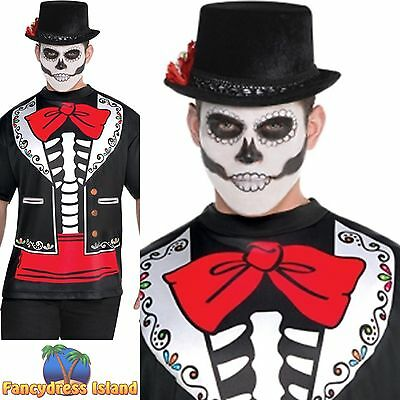DAY OF THE DEAD PRINTED T-SHIRT SKELETON - mens fancy dress costume accessory