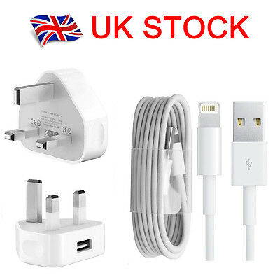 Apple iPhone 7 6S 6 Plus 5C 5S SE Mains UK 3 Pin Wall Charger Plug And USB Cable