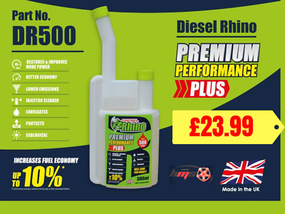 Diesel Rhino Fuel Additive Treatment Treats Up To 500 Litres Multishot Bottle