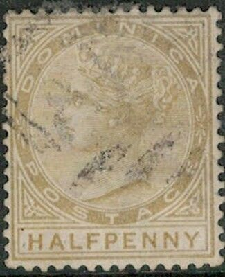 Lot 4110 - Dominica - 1874 ½d yellow Queen Victoria Used Stamp