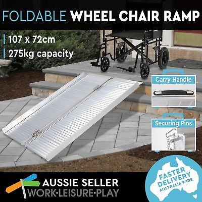 Wheelchair Ramp Portable Aluminum Mobility Scooter Folding Holds 275kg 107X72CM