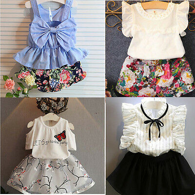 2PCS Toddler Girls Baby Clothes T-shirt / Dress Tops+Skirt / Shorts Outfits Set
