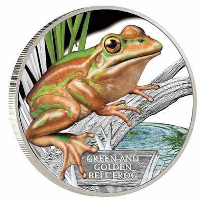 NEW Perth Mint Endangered and Extinct Green and Golden Bell Frog 1oz Silver Coin