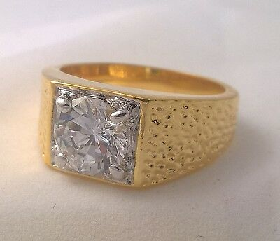 G-Filled Men's 18ct yellow gold simulated diamond solitaire ring Gents special