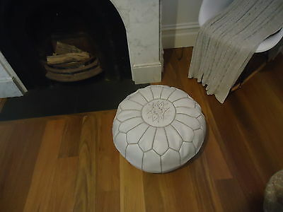 Moroccan Leather Ottoman Pouffe Pouf Footstool In Pale Grey