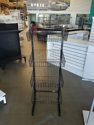 Wire Four Tier Basket Stand For Shop Retail Brand New Black Shop Fittings