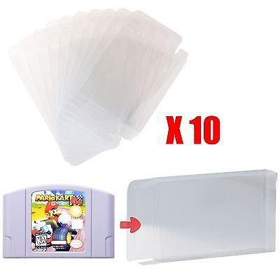 Retro Nintendo N64 Game Cartridge Clear Scratch Resistant Protector Case x 10 pc