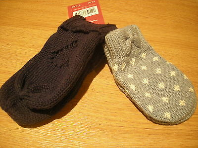 Boys - 2 Pair Pack Knitted Mittens - 6-12 Months - Blue - Bnwt