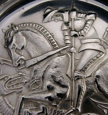 RARE ENGLISH STERLING SILVER ARMADA DISH ST GEORGE AND THE DRAGON 1972 HEAVY 97g