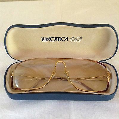 Vtg Retro Mod 1970's Luxottica Goldtone Eyeglasses with Case Made in Italy (D1)
