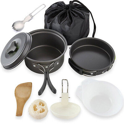 9Pcs/Set Outdoor Camping Cookware Mess Kit Hiking Bug Out Bag Cooking Equipments