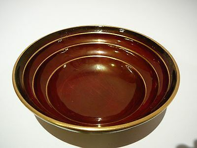 Vintage Carlton Ware Rouge Royale Small Round Bowl Dish Gold Lines 1940s