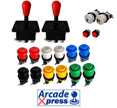 Kit Joystick Arcade x2 American Joysticks Rojos Red 12 botones 2player MAME