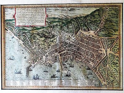 Original Copper Plate Engraving Birds Eye View of Naples by Braun & Hogenberg