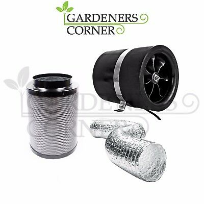 """Hydroponics 8"""" Inch 200mm Ruck Duct Fan Extraction Carbon Filter Ducting Kit"""