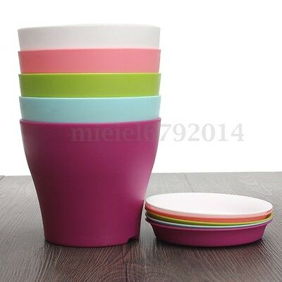 Gloss Round Plastic Plant Flower Pot Planter With Saucer Tray Home Office UK