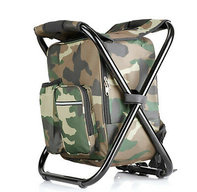 Folding Seat Stool Cool Bag Fishing Picnic Camping Chair Stool Drink Backpack