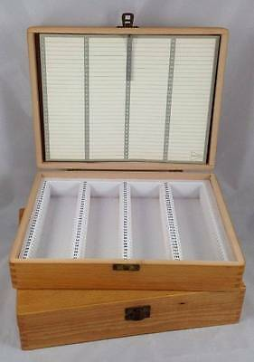 2x Vintage Boots Wooden Slide Box 124 Slides Tray 35mm
