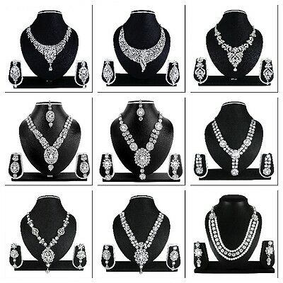 Indian Bollywood Style Fashion Silver Tone Wedding Necklace Earrings Jewelry Set