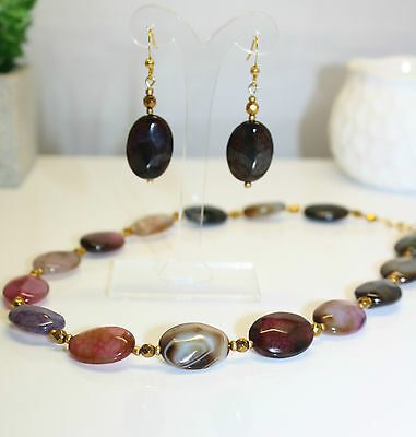 Faceted Multicolor Cracked Natural Agate Gemstone Gold Hemitate Necklace Earring