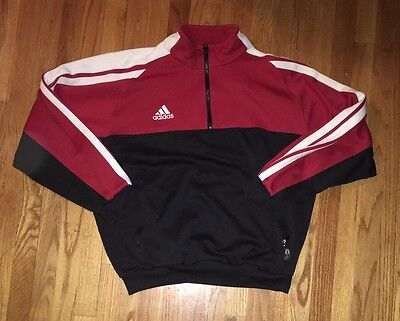 ADIDAS Men's Red And Black 1/2 Zip Pullover Sweater Size XL