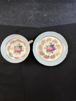Stanley Bone China Tea Cup and Saucer Mint Blue/White