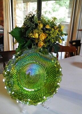 COLLECTABLE VINTAGE:SUPER Opalescent Green Carnival Depression Glass Fluted Dish