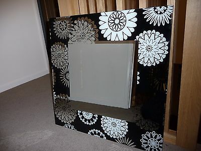Large Black and White Flower Wall Mirror