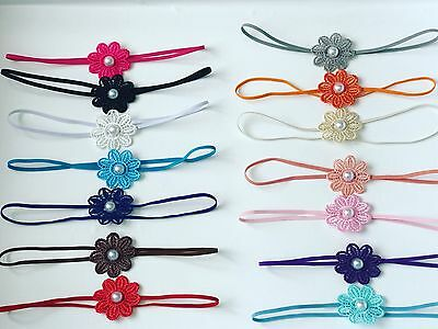 Flower With Pearl Tiny Elastic Bow Baby Girls Headband Newborn variety + Lot