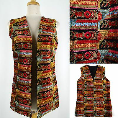 Vtg 60-70s ALADDIN Vest Tapestry Carpet BoHo Hippie MultiColor Open Front Lined