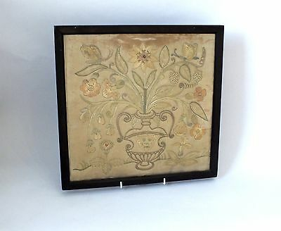 Antique Silk Embroidery , Floral, Possibly Georgian, Vintage Framed