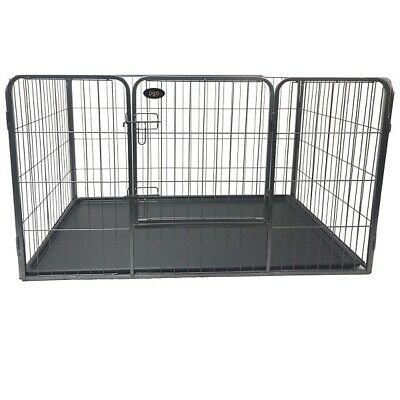 4 Sided Heavy Duty Dog Puppy Whelping Cage / Crate Play Pen Strong Plastic Tray