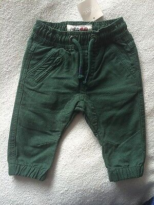 New Next Baby Boys Green Trousers Size 3-6 Months 100% Cotton